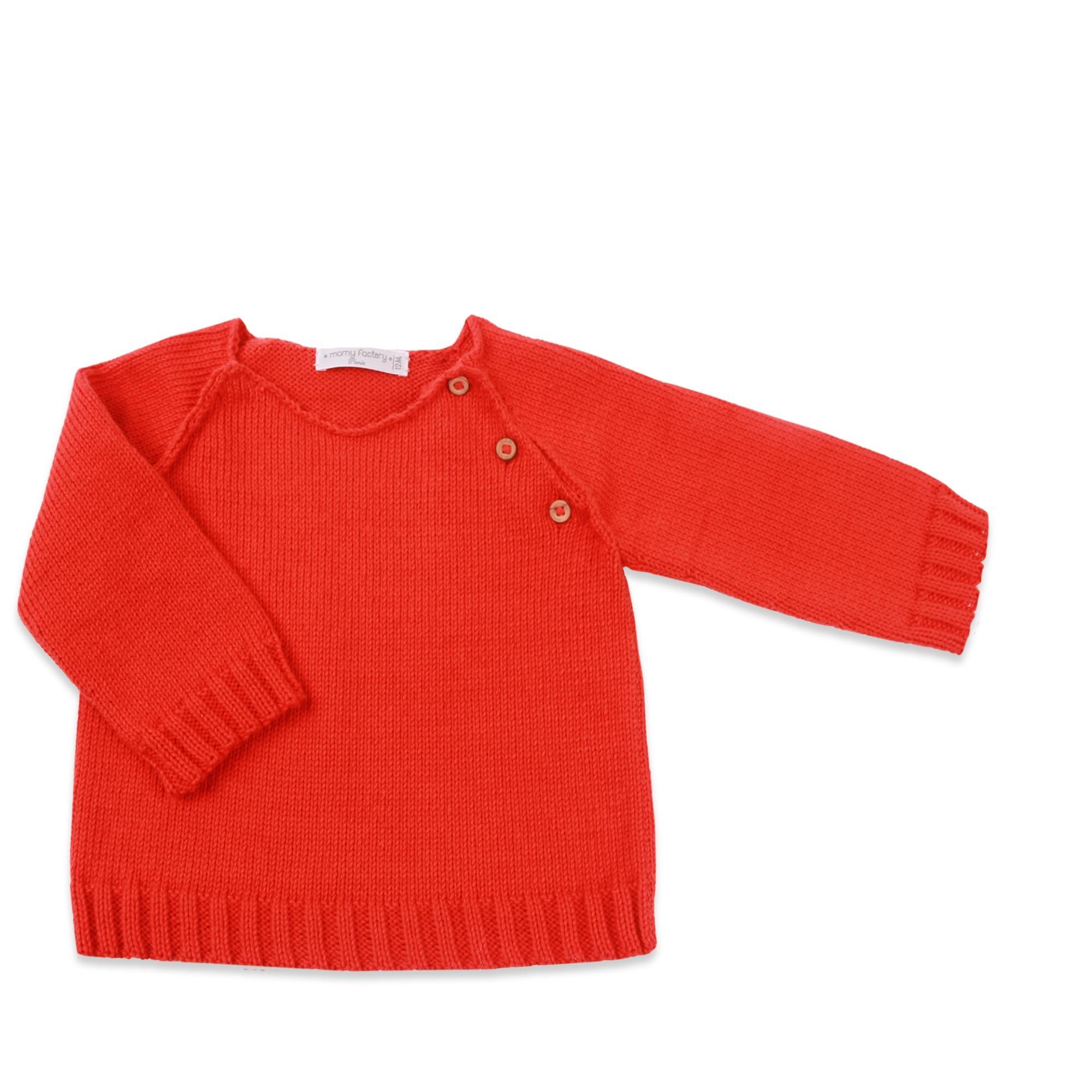 pull rouge d 39 enfant gar on tricot avec c tes aux manches en bas. Black Bedroom Furniture Sets. Home Design Ideas