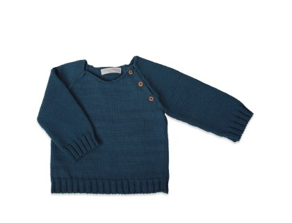 child's jumper peacock blue wooden buttons