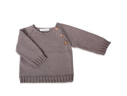 Child's jumper anthracite sleeves and wooden buttons plain stitch