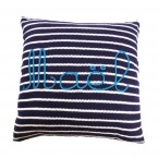 Customizable cushion with name embroidered in blue
