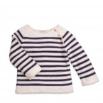 Baby jumper natural white and navy blue, ready to wear!