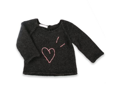 Dark grey baby sweater made from 100% alpaca with heart pattern embroidered