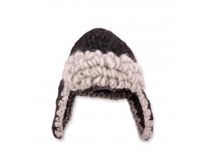 Bonnet aviateur bébé laine et alpaga coloris gris anthracite