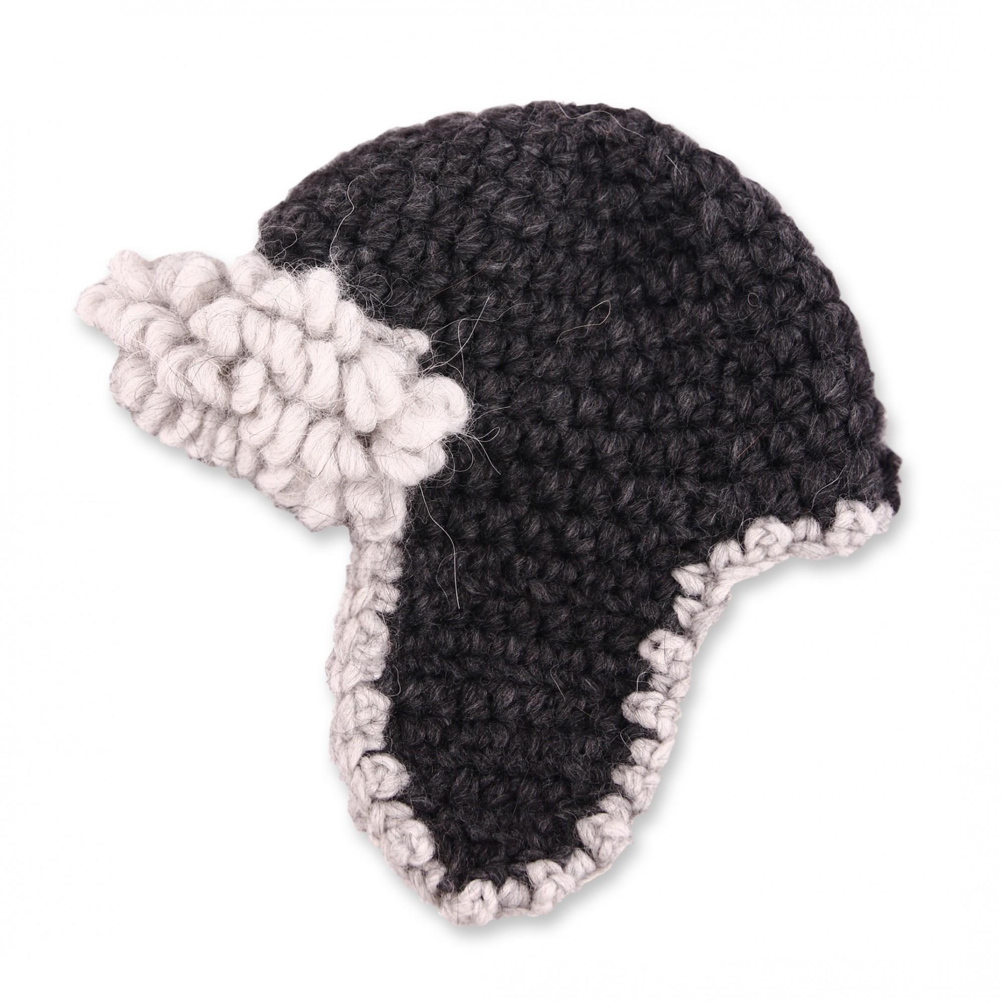 Bonnet aviateur bébé laine et alpaga coloris gris - profil