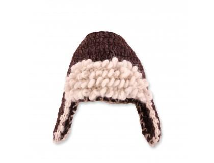 Bonnet aviateur bébé laine et alpaga coloris marron chocolat