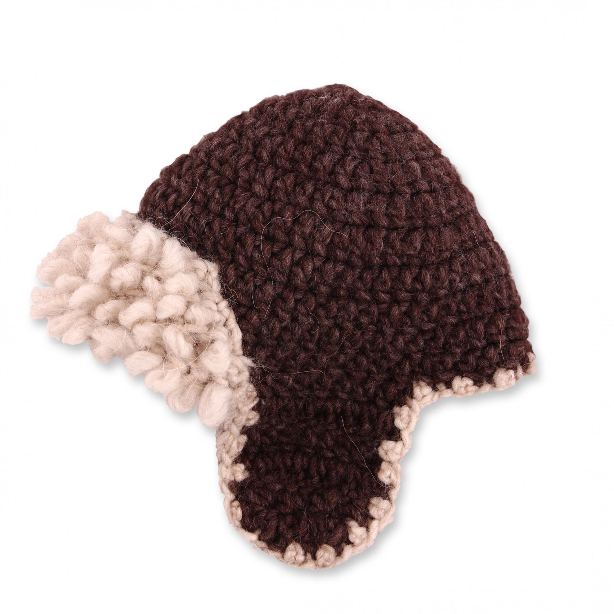 Bonnet bébé marron chocolat style aviateur en laine et alpaga - profil