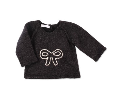 Dark grey baby sweater made from 100% alpaca with bow pattern embroidered
