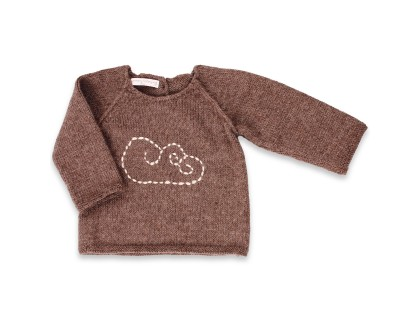 Brown color baby sweater made from 100% alpaca with cloud pattern embroidered