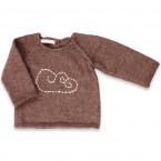 Pull bébé chataîgne 100% alpaga avec motif nuage brodé
