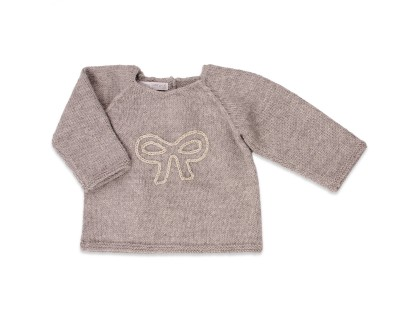 Grey baby sweater made from 100% alpaca with bow pattern embroidered