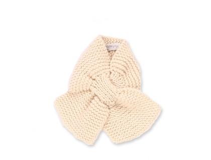 Écharpe bébé écru tricoté main en 100% laine - Mamy Factory