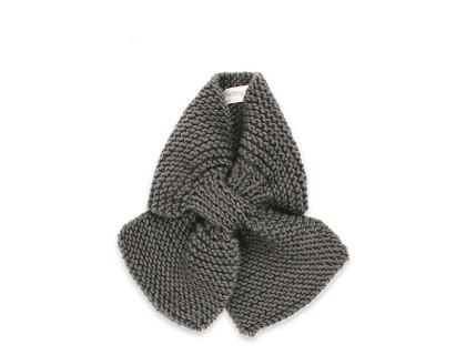 Écharpe bébé gris ardoise tricoté main en 100% laine - Mamy Factory