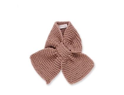 Écharpe bébé taupe tricoté main en 100% laine - Mamy Factory