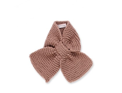 Mamy Factory baby scarf. Taupe color, hand-knitted, made from 100% wool