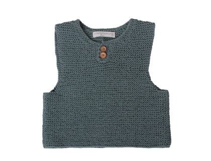 kid tank top baby linden green jade cotton wooden buttons