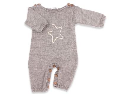 Barboteuse bébé grise en alpaga doux et motif brodé fait main