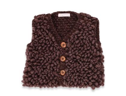Gilet de berger bébé en laine et alpaga sans maches marron