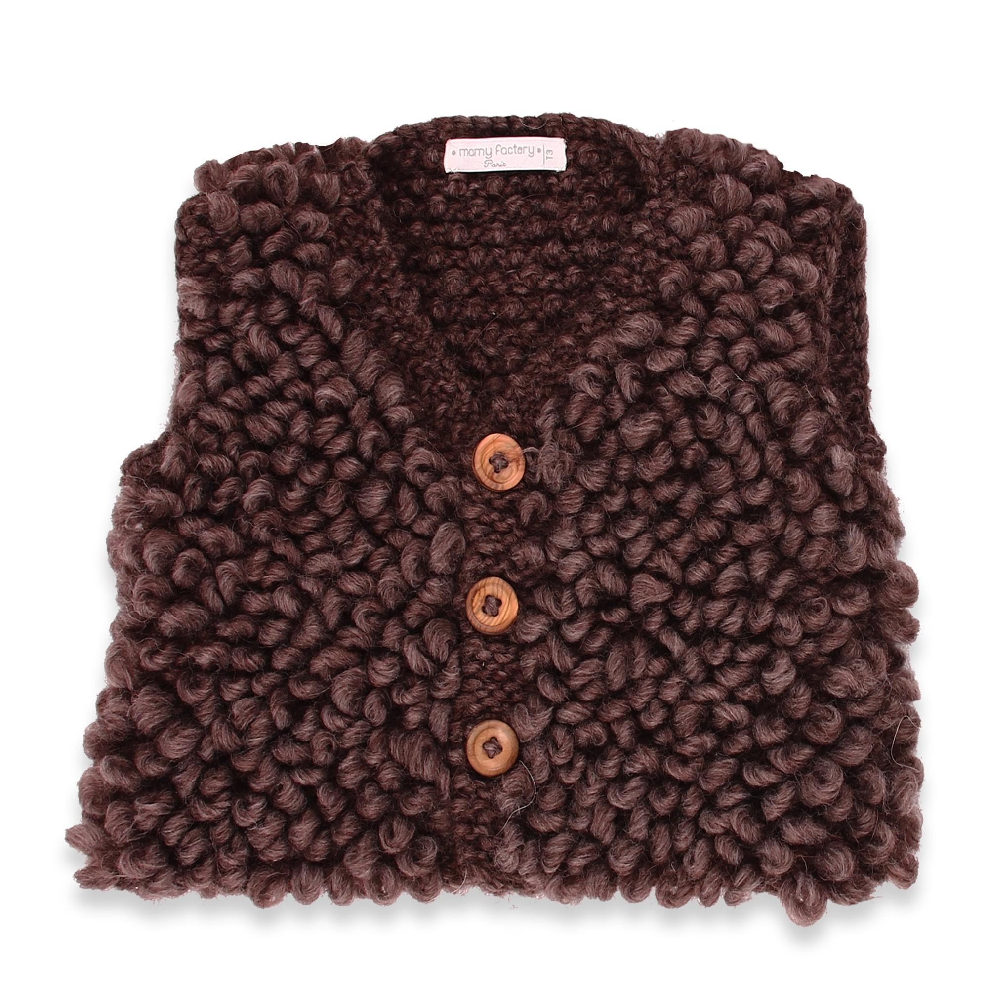 les tricots de mamy gilet sans manche enfant chocolat style berger tricot main au point de. Black Bedroom Furniture Sets. Home Design Ideas