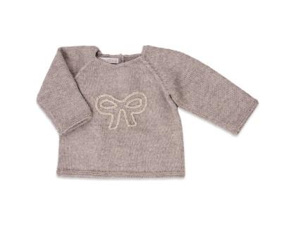 Pull bébé gris 100% alpaga avec motif noeud brodé en écru et doré