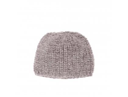 Bonnet enfant gris en laine et angora tricoté en côtes perlées