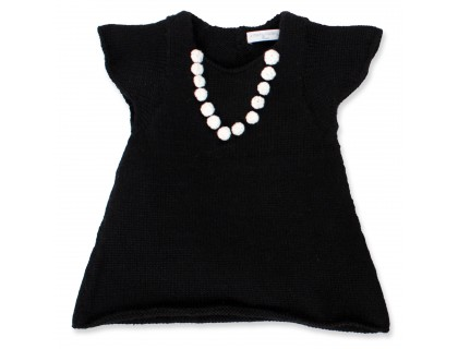 Robe bébé fille noire avec collier de perle crocheté en 100% laine d'alpaga