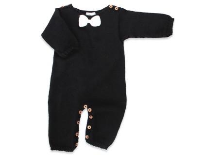 les tricots de mamy combinaison salopette noire avec t te de cerf brod e rouge en laine d. Black Bedroom Furniture Sets. Home Design Ideas