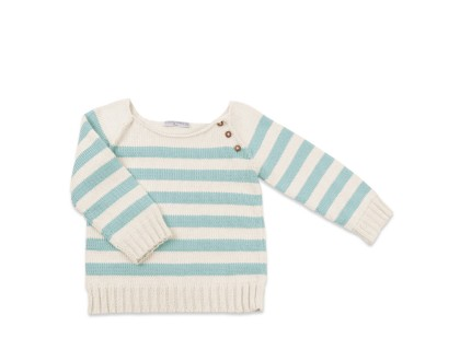Baby sweater blue sky striped made from cotton and bamboo