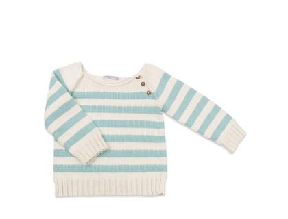 Pull bébé rayé bleu ciel en coton et bambou