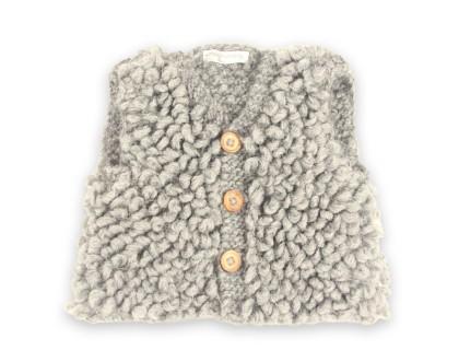 Gilet de berger bébé en laine et alpaga sans maches gris foncé - anthracite
