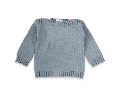 Isidore sweater for baby - azure blue color - made from cotton