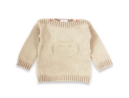 Isidore sweater for baby - sand color - made from cotton