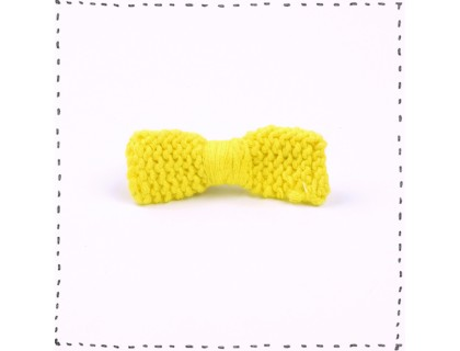 Hair clip knitted bow yellow lemon