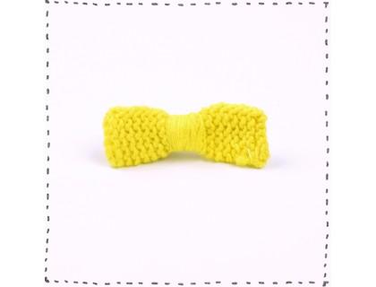 Barrette noeud tricotée jaune citron pince crocodile