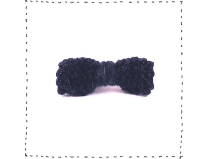 Hair clip knitted bow jean blue crocodile pinch