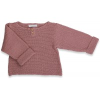 Taupe baby sweater knitted in moss stitches made from cotton and cachemire