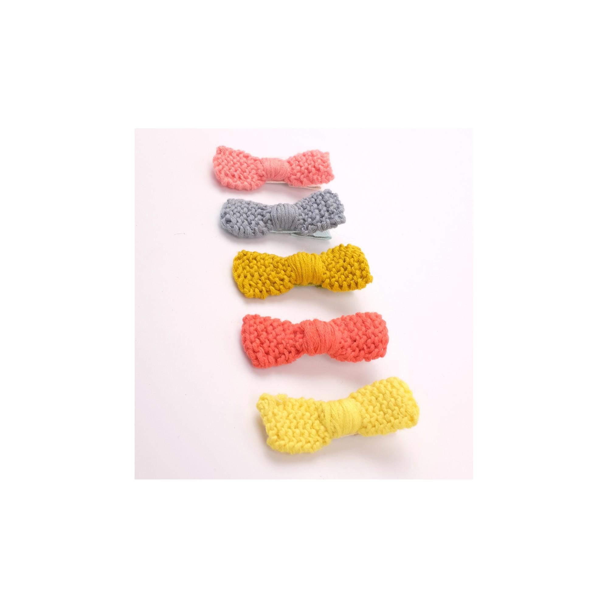 Barrette noeud tricotée divers coloris
