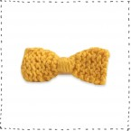Hair clip knitted bow yellow crocodile pinch