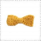 Barrette noeud tricotée jaune pince crocodile