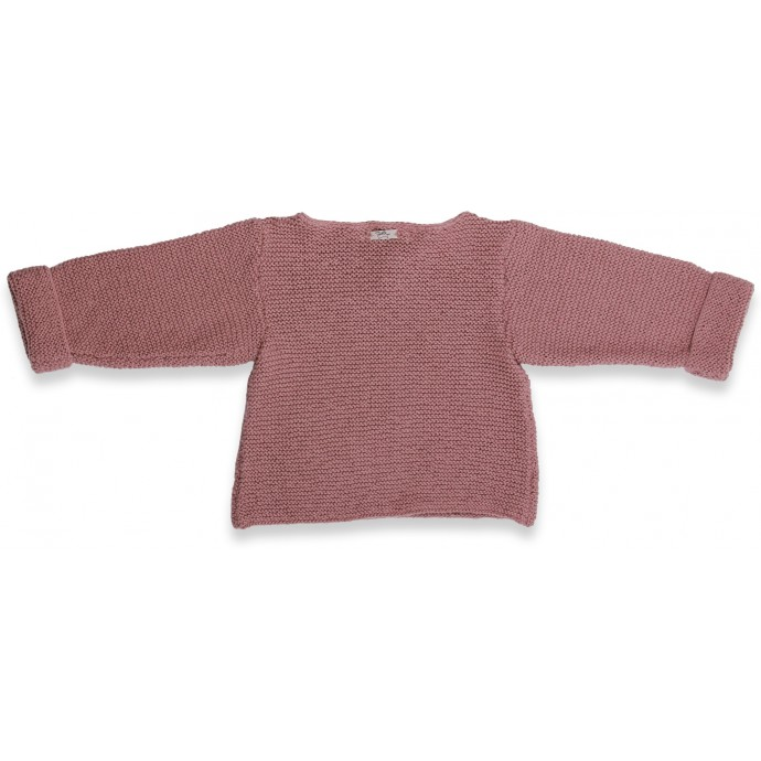 Taupe baby sweater knitted in moss stitches made from cotton and cashmere - back