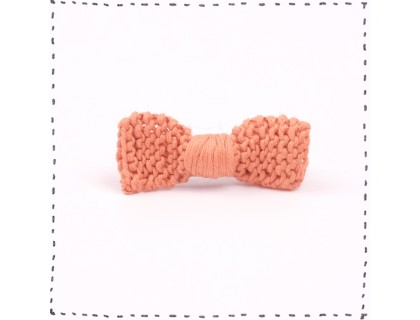 Hair clip knitted bow terra-cotta crocodile pinch