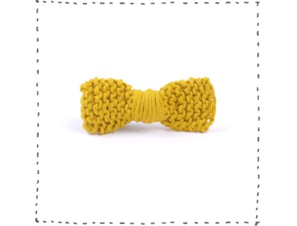 Hair clip knitted bow curry green crocodile pinch