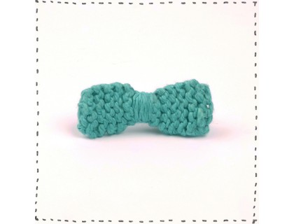 Hair clip knitted bow turquoise crocodile pinch