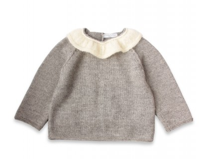Pierre baby sweater grey with white collar alpaca