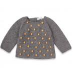 Eugène sweater baby grey with yellow nopes wool alpaca