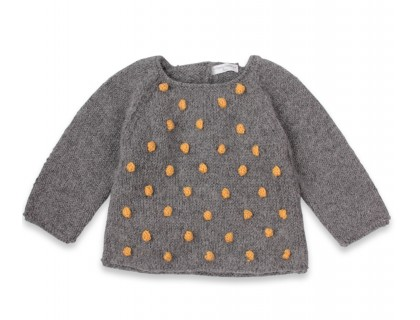 Eugène sweater baby grey with yellow nopes wool alpaca
