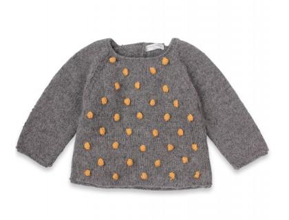Pull Eugène bébé gris nopes jaune laine alpaga