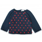 Eugène sweater baby night blue with red nopes wool alpaca