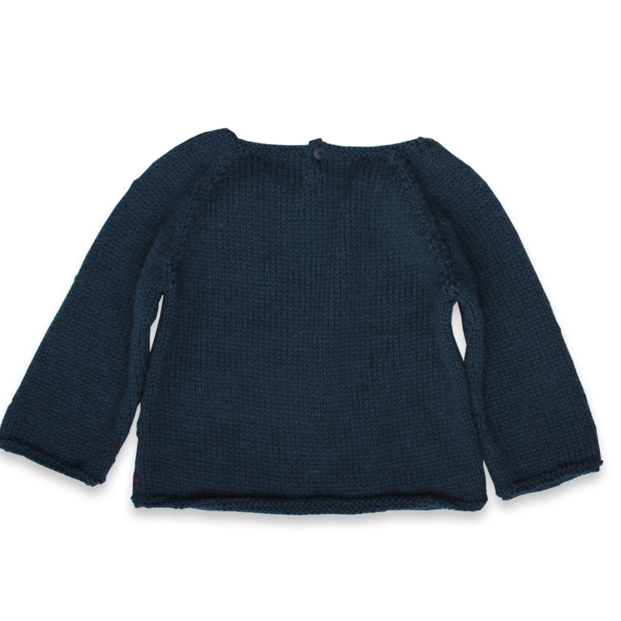 ce25903d4f Granny s knitwear - Navy blue sweater for baby girls with small ...