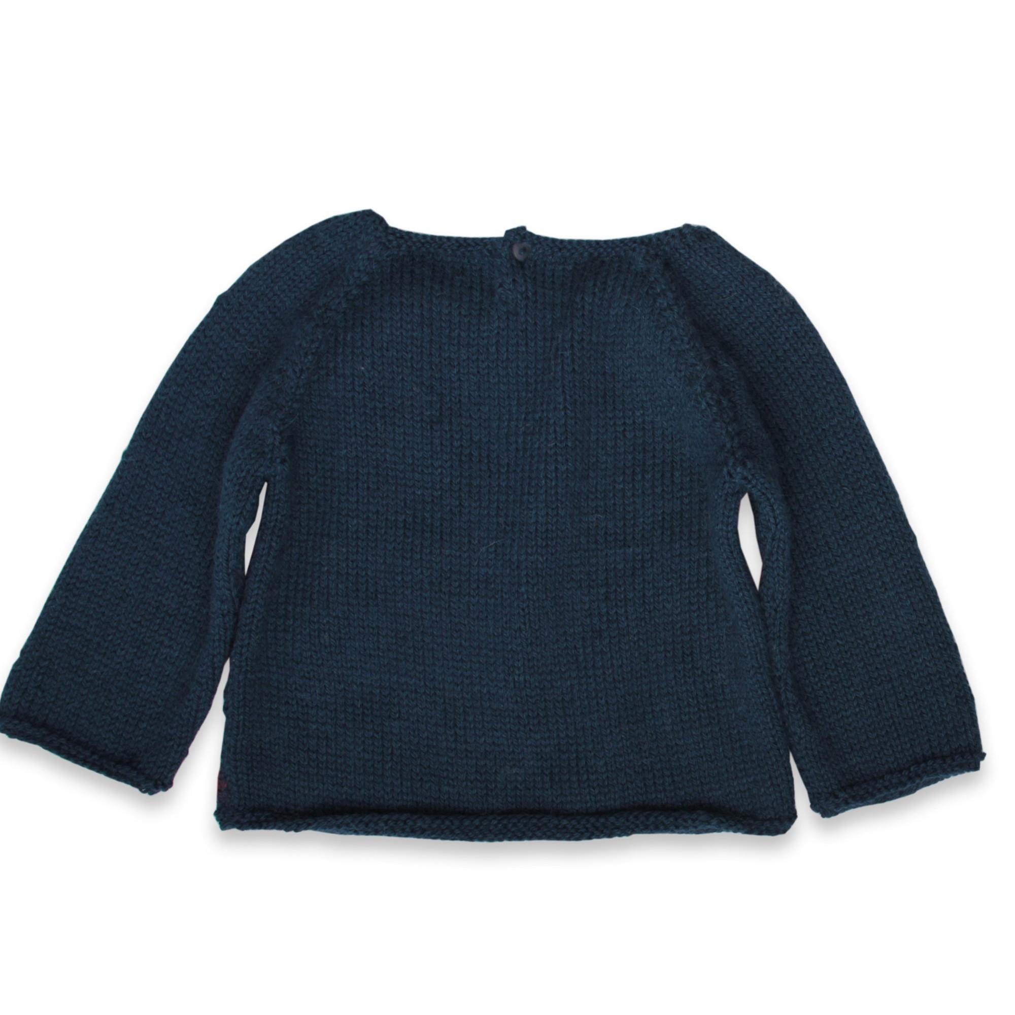 Pull Eugène bébé bleu nuit laine alpaga dos