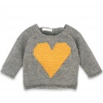 Pull Agénor gris coeur jaune laine alpaga